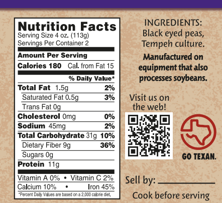 Black Eyed Pea Tempeh Nutrition Facts
