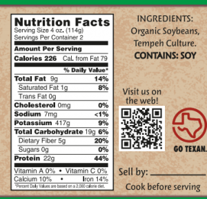 Texas Tempeh Nutrition Facts